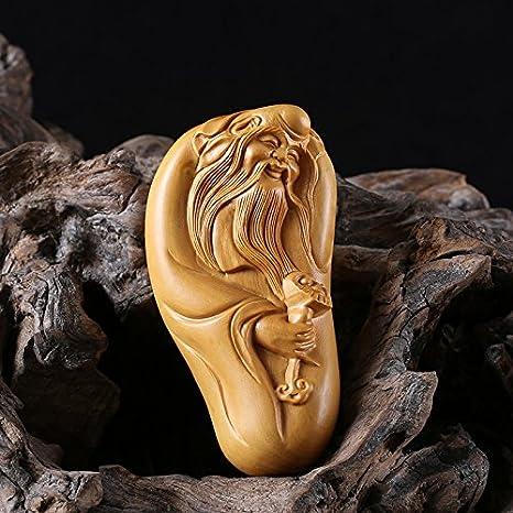 God of Longevity Carved Boxwood Netsuke with Red Cord Chinese Boxwood Figurine Netsuke Wood Sculpture Netsuke Chinese Woodcarving \u58fd\u661f\u516c