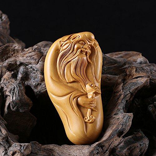 JP060-7X3.5X2.5 cm Carved Boxwood Carving/Netsuke : God of Longevity ()