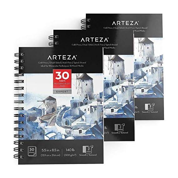ARTEZA 5 5×8 5″ Expert Watercolor Pad, Pack of 3, 90 Sheets (140lb