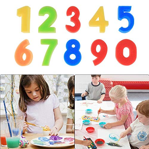 Tcplyn Premium Quality 10PCS Number Sponges Sponge Painting Shapes Stamps Kids Childrens DIY Art and Craft by Tcplyn (Image #3)