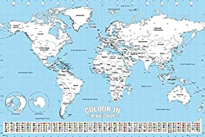 Amazoncom Color In Travel World Map  Poster  Print Color Your