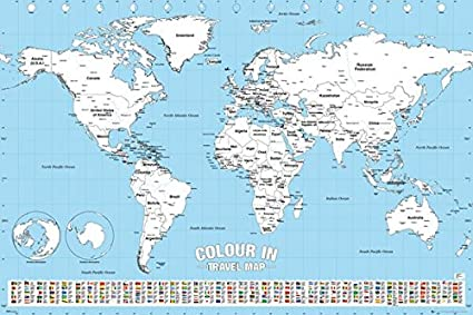 Amazon color in travel world map poster print color your color in travel world map poster print color your visited countries gumiabroncs Choice Image