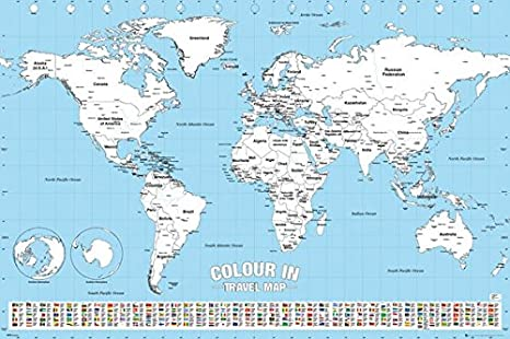 Color in Travel World Map - Poster/Print (Color Your Visited Countries) on west inies on a map of the world, i need a map united states, i need the color wheel, west part of the world,