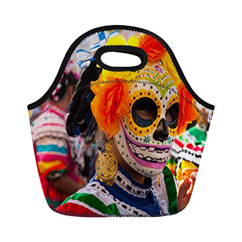 Semtomn Lunch Bags Death Woman Wearing Colorful Skull Mask and Flowers Neoprene Lunch Bag Lunchbox Tote Bag Portable Picnic Bag Cooler Bag ()
