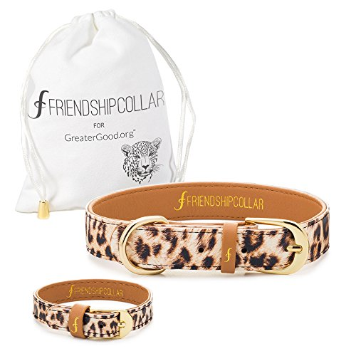 FriendshipCollar Dog or Cat Collar and Matching Bracelet Set - Wild and Free - Vegan Leather - 8 Sizes Available - Every Purchase Helps Feed Hungry Shelter Pups