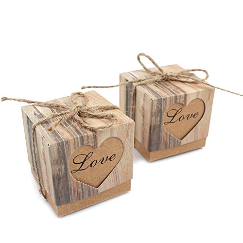 (AerWo Imitation Bark Gift Candy Boxes, Love Heart Wedding Party Favor Bag Rustic Kraft Bonbonniere with Burlap Twine (20pcs,)