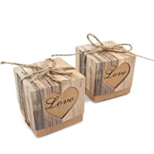 OurWarm 50pcs Candy Boxes Love Heart Kraft Box Kraft Paper Gift Box with Burlap Jute Shabby Chic Twine Wedding Favors Party Decorations