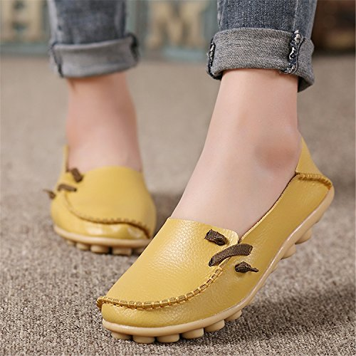 Shoes Size 34 Colors Outdoor Beststore Casual Peas 16 Shoes Leather Lace Slip Women 44 Non Genuine up Yellow Flat Shoes VAO 7ww5EqH