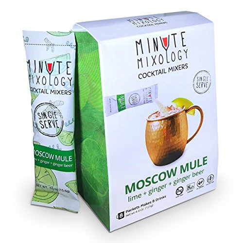 Minute Mixology Cocktail Mixers - Low Calorie, All Natural Ingredients - Drink Mix for Liquor/Spirits and Non-Alcoholic Beverages (Moscow Mule, 16 Packets) -