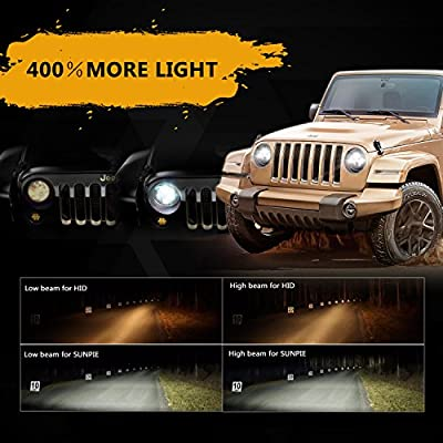 "Sunpie Black 7"" Round LED Projection Headlights Kit for Jeep Wrangler Jk TJ LJ Rubicon Sahara Willys Hummer H1 H2: Automotive"