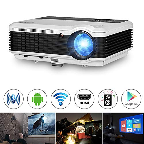 3900 Lumen Android Bluetooth LCD Video Projector-Multimedia HDMI USB RCA Audio VGA AV Support Full HD 1080P Wireless WiFi Home Theater Projectors Outdoor Indoor Holiday Entertainment Game Movies Art from EUG