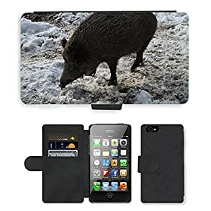 hello-mobile PU LEATHER case coque housse smartphone Flip bag Cover protection // M00136818 Jabalí Jabalí Cerdo Bosque Deer Park // Apple iPhone 4 4S 4G