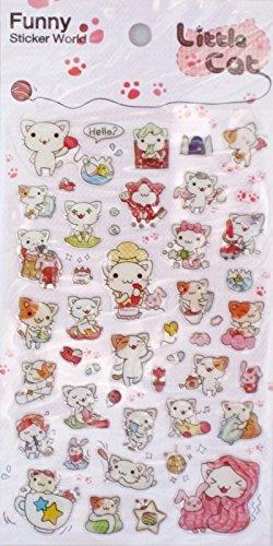 Funny Sticker World Little Cat Epoxy Sticker Sheet~KAWAII!! (Funny Sticker World)
