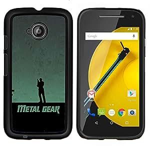 EJOOY---Cubierta de la caja de protección para la piel dura ** Motorola Moto E2 E2nd Gen ** --Metal Gear