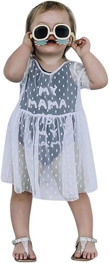 Baby Casual Dress,Fineser Toddler Kids Girls Short Sleeve Letter Print Patchwork Lace Perspective Princess Sundress