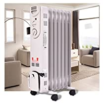 Electric Oil Filled Radiator Space Heater 1500W Thermostat Room Radiant 5-Fin