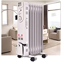 Electric Oil Filled Radiator Space Heater 5-Fin Thermostat Room Radiant 1500W