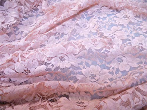 Flocked Sheer - Discount Fabric Stretch Mesh Lace Pale Pink Embroidered Flocked Floral Sheer A30