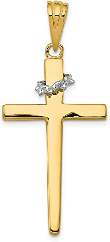 14k Two-Tone Gold Inlaid Double Cross Crucifix Pendant Necklace