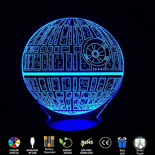 AlienTechStar Wars Death Star 3D Visual LED Night Light Touch Sensitive Switch Table Lamp USB Charge 7 Colors Room Decor Colorful Lighting Gift