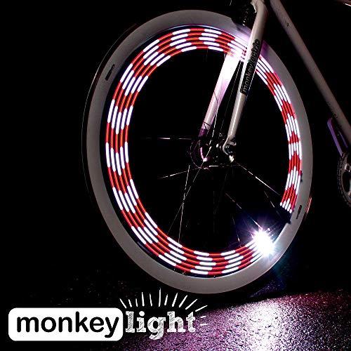 Monkey Light M210R – USB Rechargeable Battery 80 Lumen Full Color Bike Wheel Tire Spoke Light Accessory 10 LED Waterproof Ultra-Durable Assembled in USA
