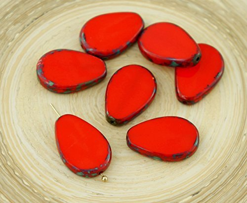 4pcs Picasso Brown Opaque Coral Red Flat Teardrop Window Table Cut Czech Glass Beads 18mm x 12mm