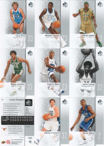 2011 / 2012 SP Authentic Basketball Series Complete Mint 50 Card Hand Collated Set Including Jimmer Fredette, Larry Bird, Michael Jordan, Lebron James, Nolan Smith, Derrick Rose, Julius Erving, Magic Johnson, Shelvin Mack, Matt Howard, Grant Hill, David Robinson, Tristan Thompson and More! -  Upper Deck