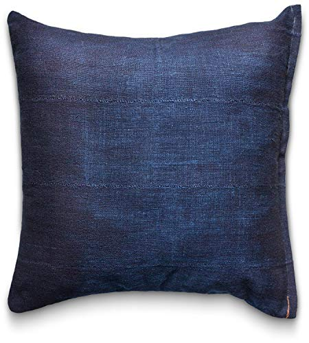 Pillow Covers Mudcloth Indigo: Throw Pillow Cover 18 x 18 Vintage African Authentic Handmade in Uganda Africa Mud Cloth Double Sided Fabric in Custom Indigo Dye with Zipper (Deep Indigo) ()
