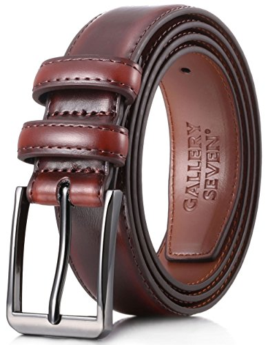 (Gallery Seven Mens belt - Genuine Leather Dress Belt - Classic Casual Belt in gift box - Mahagony - Size 42 (Waist: 40))