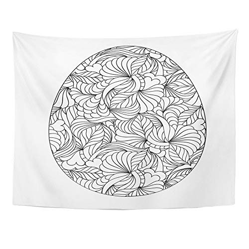 Emvency Tapestry Polyester Fabric Print Home Decor Color Abstract Easter Egg on White Coloring Page for Children and Adult Spring Wall Hanging Tapestry for Living Room Bedroom Dorm 60x80 Inches ()