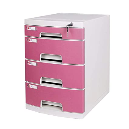 File Cabinets, Four Layer Plastic Drawer Type With Lock Office Storage Data  File Box