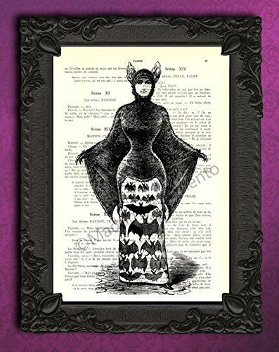 Victorian vampire lady with bat costume wall decor, Halloween art print