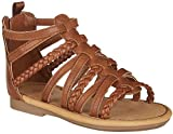 Carter's Girls' Smile Gladiator Sandal, Brown, 7 M US Toddler