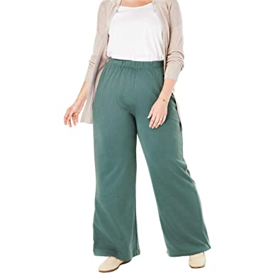 f4dc821f564 Woman Within Plus Size Petite 7-Day Knit Wide Leg Pant - Antique Teal