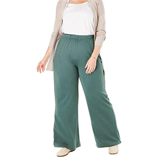 fafa931848 Woman Within Plus Size Tall 7-Day Knit Wide Leg Pant - Antique Teal,
