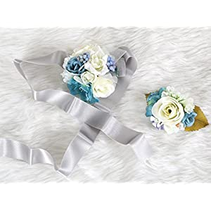 Wedding Prom Wrist Corsage Silk rose and Boutonniere Set Pin Ribbon Included (Blue Gray theme) 72