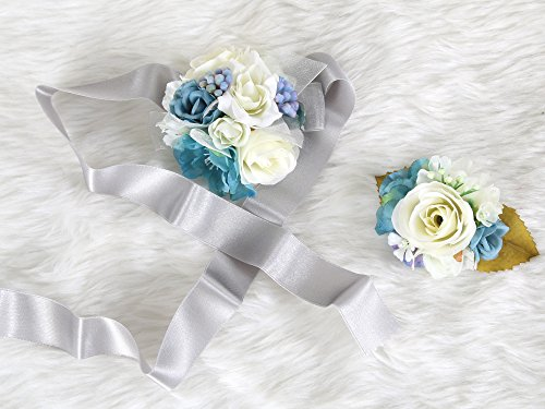 Wedding Prom Wrist Corsage Silk rose and Boutonniere Set Pin Ribbon Included (Blue Gray theme) Christmas Corsages And Boutonnieres