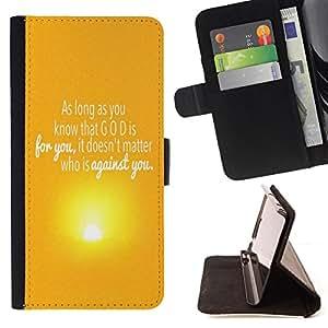 BullDog Case - FOR/Apple Iphone 5 / 5S / - / GOD IS FOR YOU /- Monedero de cuero de la PU Llevar cubierta de la caja con el ID Credit Card Slots Flip funda de cuer