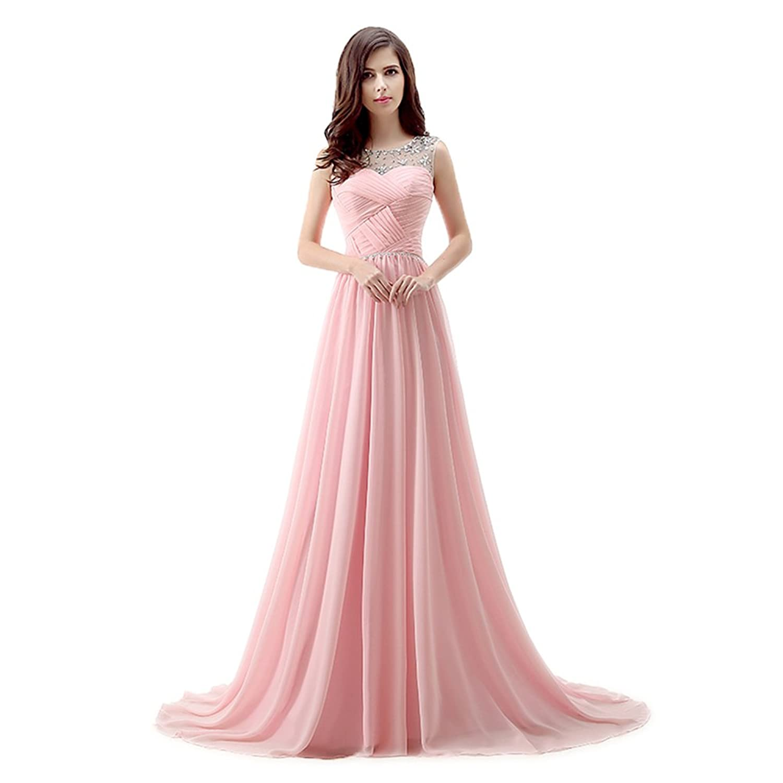 Ikerenwedding Women's Court Train Chiffon Prom Dress with Crystal Ruffle Lace Up