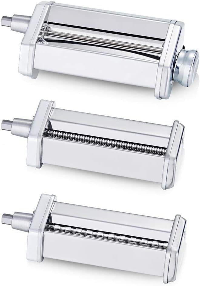KitchenWin Pasta Maker Attachment Set for Any KitchenAid Stand Mixer, including Pasta Sheet Roller, Spaghetti Cutter, Fettuccine Cutter Accessories and Cleaning Brush