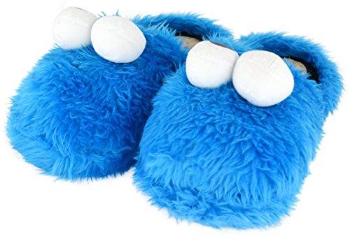 Sesamstrasse Hausschuhe Größe XL 44-46 Krümelmonster 3D Slipper Cookie Monster Schuhe Sesame Street Shoes