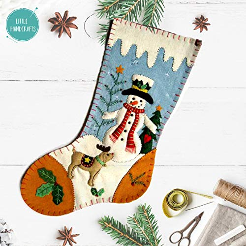 Little Handcrafts Handmade Christmas Snowman Reindeer Stocking Holiday Wool Felt Stitched Hook Mantle Home Decor Party Gifts (Christmas Handmade Gifts Felt)