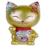 Large Mani the Lucky Cat Maneki Neko Coin Bank Gold