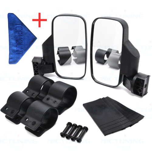 Adjust Side View Mirrors - TOPMOUNT 1Pair Side View Mirror Set for UTV Polaris Ranger RZR, Can Am Commander, Maverick X3, Gator, Teryx, Rhino YXZ With 1pcs Cleaning Towel