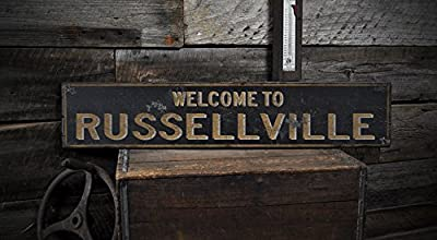 Welcome to RUSSELLVILLE, KENTUCKY - Rustic Hand-Made Vintage US City Wooden Sign