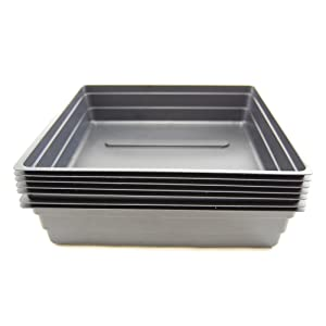 """Plant Germination Drip Trays - Pack of 10 - 10"""" by 10"""" Black Plastic Greenhouse Growing Flats with No Drain Holes - For Seedlings, Microgreens, Wheatgrass, More"""