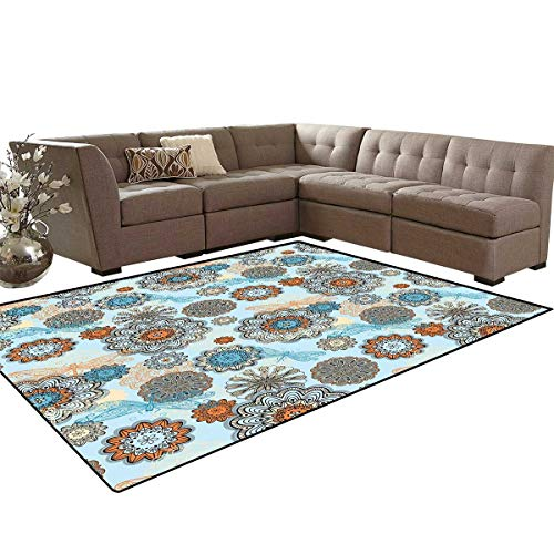 Doodle Door Mats Area Rug Abstract Symmetric Flowers and Dragonflies Saesonal Simple Drawing Summer Anti-Skid Area Rugs 6'x9' Light Blue Multicolor