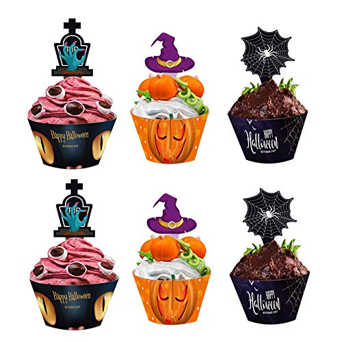Cupcake Decorations For Halloween (Halloween Cupcake Toppers Wrappers, Spider Witch's Hat Zombie Hand for Halloween Party Cupcake)