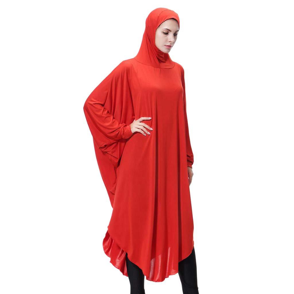 Baoblaze Damen Muslimische Kleider Islamische Kleidung Kopftuch Hijab Maxi Schal Robe mit Kopfbedekcung