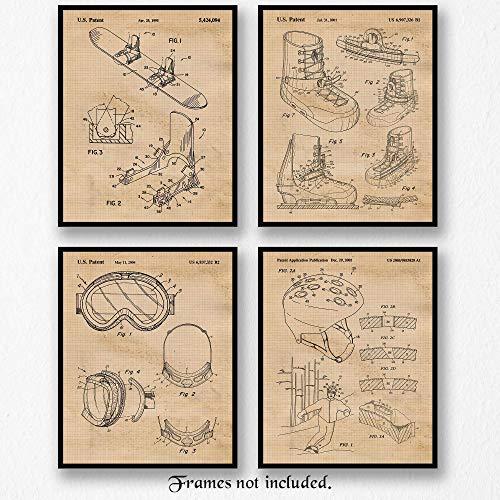Original Snowboard Equipments Patent Art Poster Prints, Set of 4 (8x10) Unframed Photos, Great Wall Art Decor Gifts Under 20 for Home, Office, Man Cave, Cabin, Student, Teacher, Winter X-Games Fan